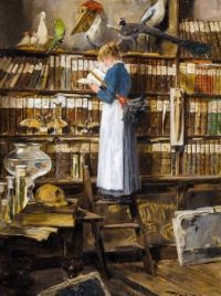 Maid reading in the Library
