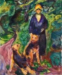 Edvard Munch, Woman with Airedale Terriers (1925-1926)