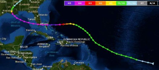 """THEME:  """"Weather""""   Hurricane Andrew's path in August of 1992.  We still have about 6 weeks of hurrican season."""