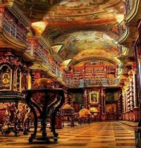 The Library of Strahov Monastery in Prague, Czech Republic