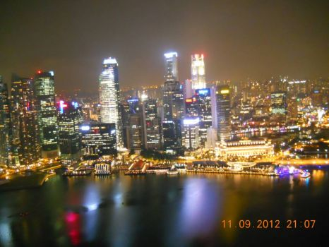 Singapore's Central Business District at night - taken from the Skydeck of the Marina Bay Sands Hotel