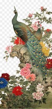 Chinese PeaCock & Peonies Art