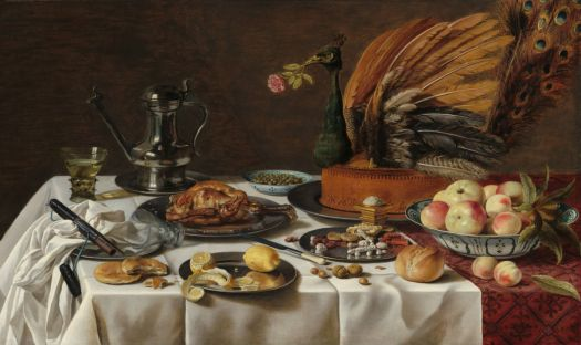 Better image:  Pieter Claesz--Still Life with Peacock Pie, 1627