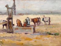 Selden Connor Gile (American, 1877–1947), Cows at the Old Windmill Pump