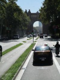 Barcelona with the bike path in the middle of the street