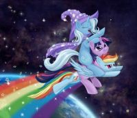 MLP: Wizard Riding A Unicorn On A Rainbow In Space