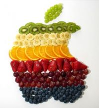 Apple Logo created with Fruit