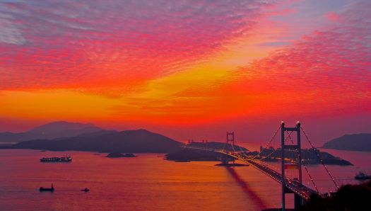 Sunset over Tsing Ma Bridge, Hong Kong, China