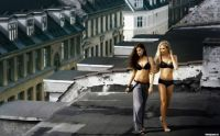 Girls on roof