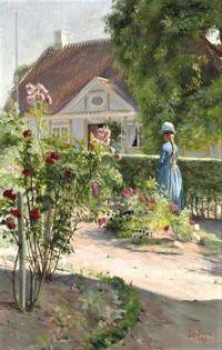 En ung pige i en rosenhave (1889)