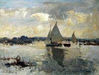 Edward Seago Sailing boats on the river