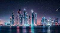 Dubai Skyline Starry Sky