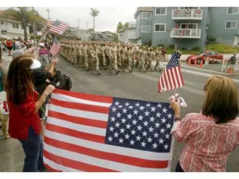 Six hundred Marines from the 2nd Battalion, 4th Marines march down Avenida Del Mar Thursday as San Clemente welcomed its adopted