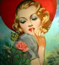 1940's Beauty with Butterfly and Rose