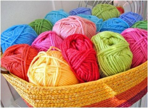 Bright and Colorful Yarn Basket