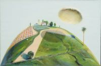 Wayne Thiebaud. Palm Hill and Farm Cloud CA.-1968