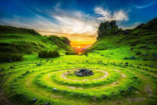 Sunset on Isle of Skye in Scotland - The Fairy Glen