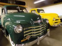 Chevrolet 1951, green, and 1954 yellow, pick ups