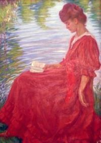Reading and Art 'Woman In Red' By  Raphaël Léon Leguilloux