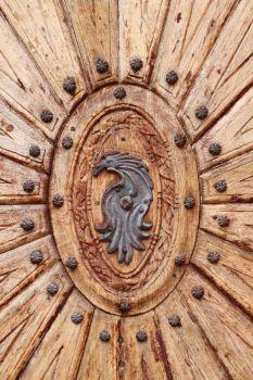 Emblem on a Wooden Door
