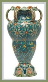 Mettlach vase, large unusual shape with six looping handles at top above a finely incised and painted floral design