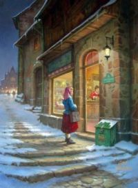 Christmas Scene - Art by Toth Gabor,  'At the Shop Window'