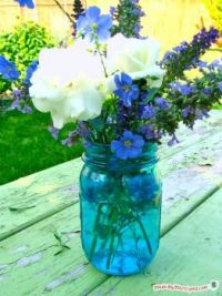 Tinted Mason Jar with Flowers