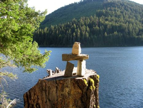 Inukshuk by the lake