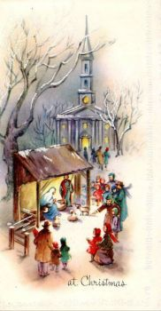 Vintage Christmas Card - Church Nativity Scene