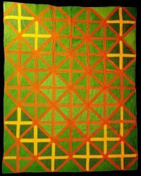 """Bedcover (""""Crossroads"""" Quilt), United States, 1801-1900 (colors significantly enhanced)"""