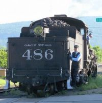 Durango and Silverton #486 getting ready to hook up the passenger cars