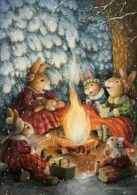 Bunny family by the campfire