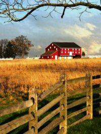 Red Barn Behind The FENCE