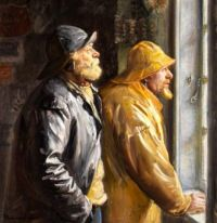 Two fishermen from Skagen at the window in the grocery