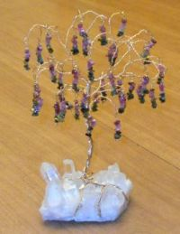 "Tourmaline ""willow"" gem tree on a Quartz crystal base"