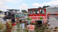 Canal boats at the Falkirk Wheel, Scotland