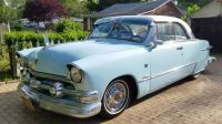 1951 Ford Victoria Baby Blue and White with 57 Chevy head lights