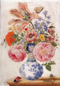 Chinese vase with roses, poppies and carnations 1670-1680