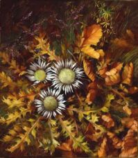 Brunhilde Stübinger (Austrian painter) 1912 - 2006 Stillleben mit Distel und Ginster (Still life with Thistle and Broom)