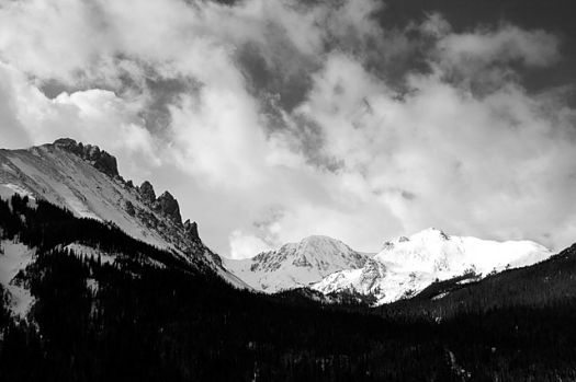 Snowy mountain, Black and white