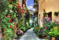 Street in Spello (Hispellum), Umbria, Italy