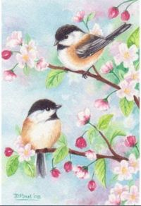 Spring birds and blossoms