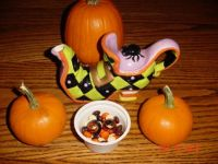 Candy, pumpkins, and a Halloween teapot