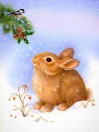 Amazing bunny and little bird