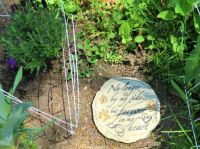 ''Remembrance Plaque'' between some Bearded Irises & Lavender