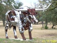 Longhorn Sculpture near Johnson City Tx