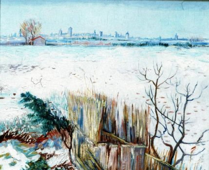 Snowy Landscape with Arles in the Background - Zasněžená krajina s Arles v pozadí - 1888