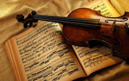 sheet music and violin