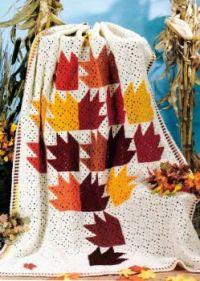 Lovely Autumn Leaves Crocheted Afghan