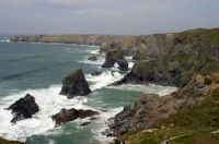 Bedruthan Steps on the north Cornish coast of England